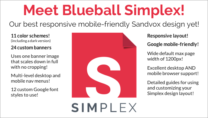 Get Blueball Simplex - The responsive simple-to-use Sandvox design that makes any Sandvox site mobile-friendly!
