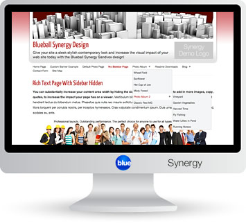 Blueball Synergy - The Blueball Synergy's sleek stylized layout places the viewer's focus onto your site's content!