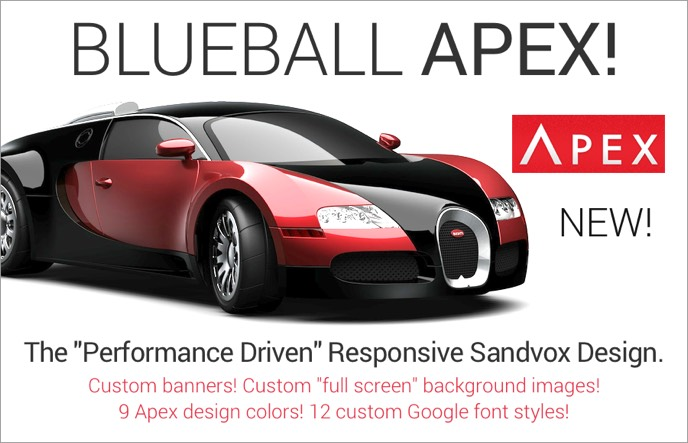 Get Blueball Apex - The performance drive responsive mobile-friendly Sandvox design with custom banner and full page background images!