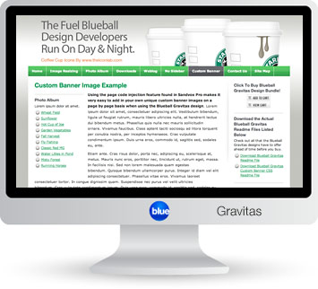 Blueball Gravitas - The Blueball Gravitas's sleek professional layout places the viewer's focus onto your site's content!
