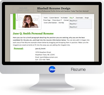 Blueball Rezume - The best Sandvox design for personal resume and profile sites, business profiles, and product listings