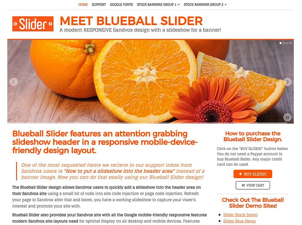 Blueball Slider responsive design with header slideshow released