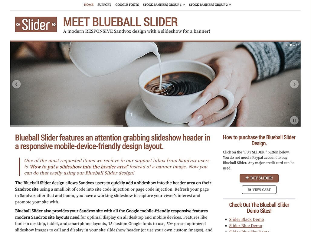 Blueball Slider Brown responsive design with header slideshow released