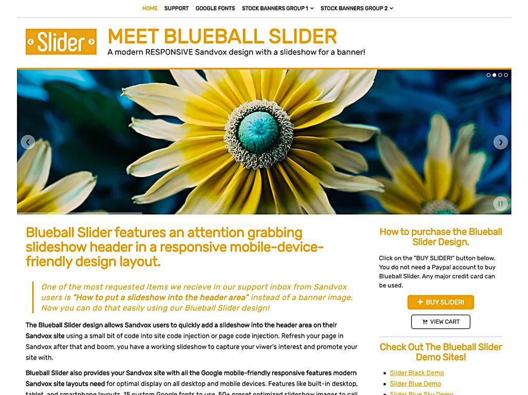 Blueball Slider Golden responsive design with header slideshow released